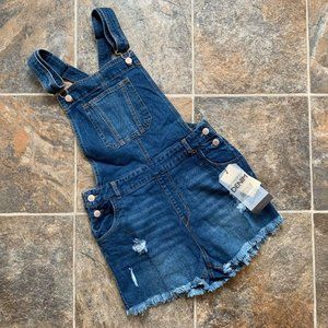 Love True Denim Distressed Denim Shortalls